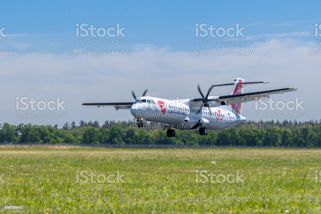 Czech Airline airplane is landing at Boryspil airport, Ukraine. stock photo
