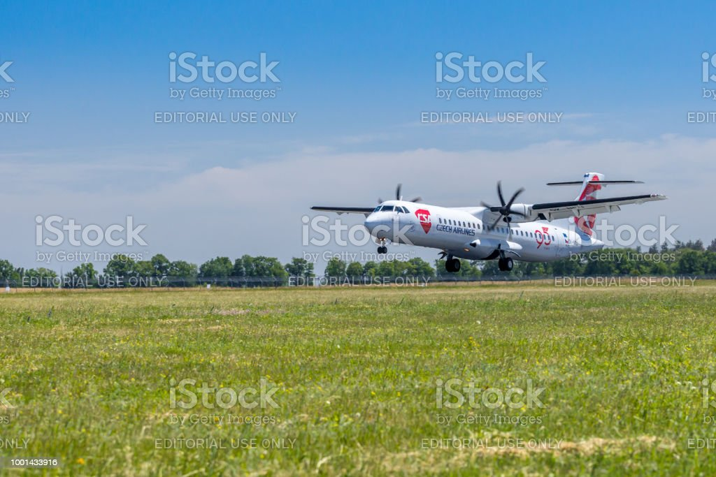 Czech Airline plane is touching down at Boryspil airport, Ukraine. stock photo