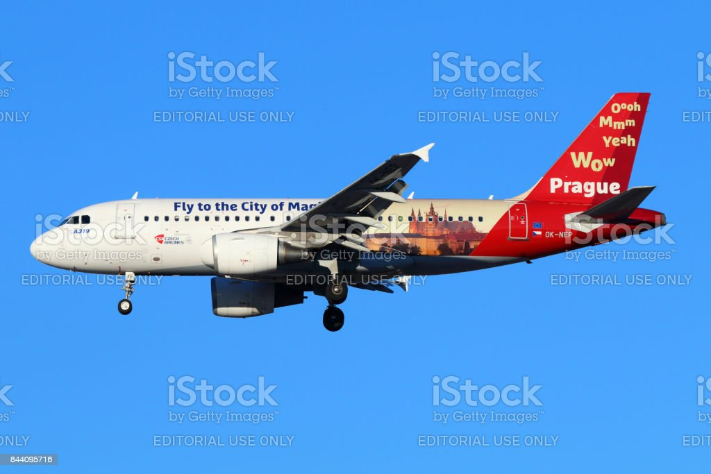 CSA - Czech Airlines Airbus A319 with 'Fly to the City of Magic!' special livery landing at Sheremetyevo international airport. stock photo