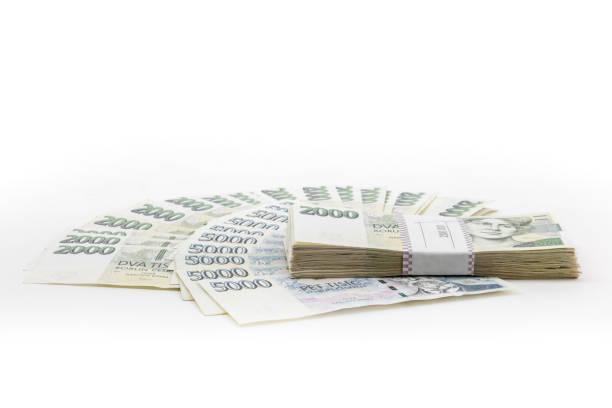 czech banknotes crowns, money concept crisis stock photo