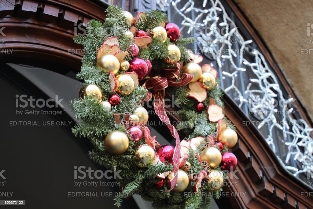 A Czech Christmas wreath combines natural things with artificial things stock photo