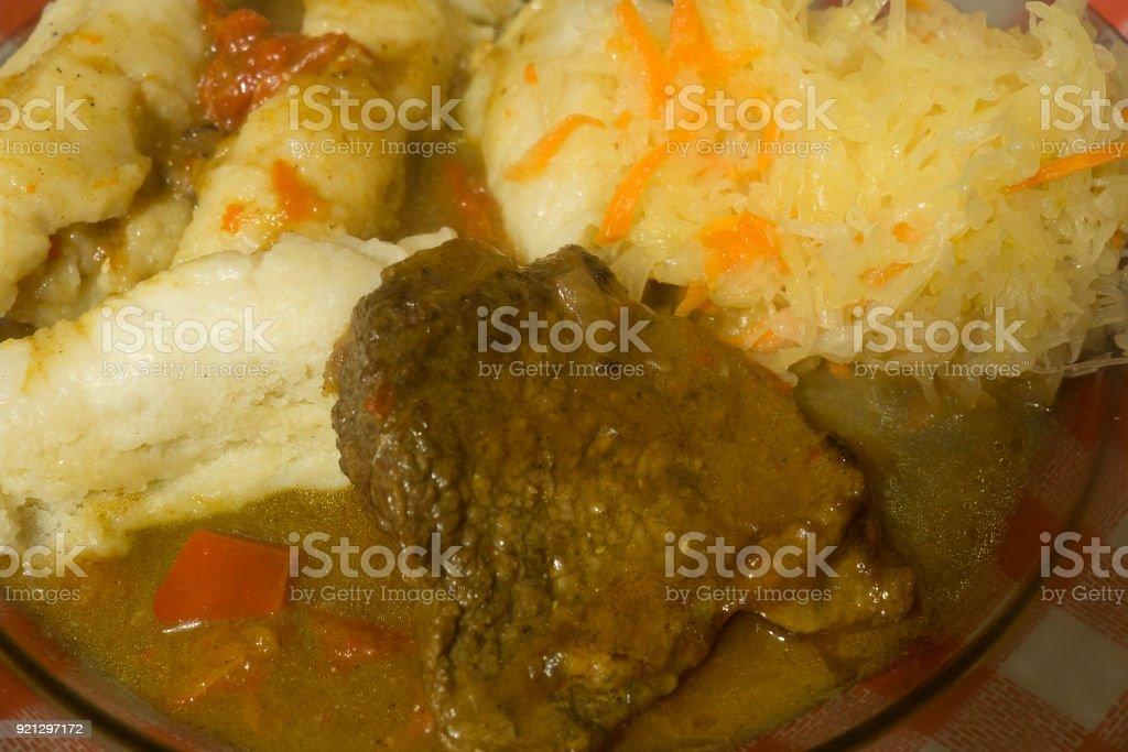 czech dumplings dinner stock photo