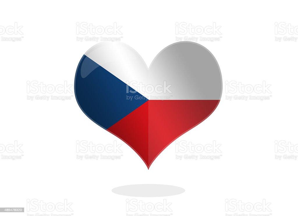 Bandera checa forma de corazón - foto de stock