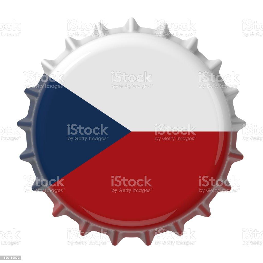 Checa bandera en la tapa de la botella. Render 3D - foto de stock