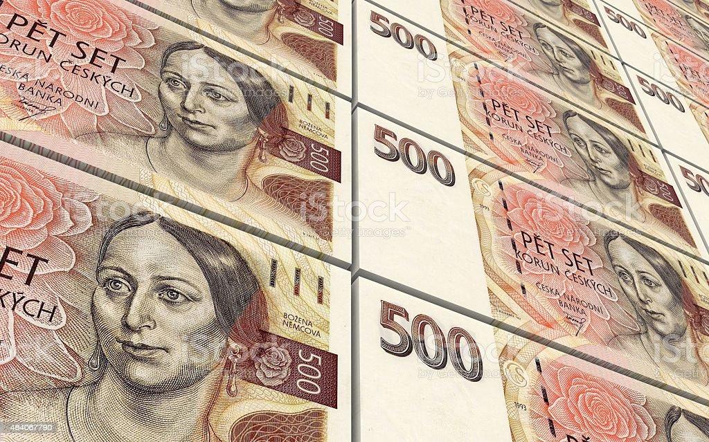 Czech koruna bills stacks background. stock photo