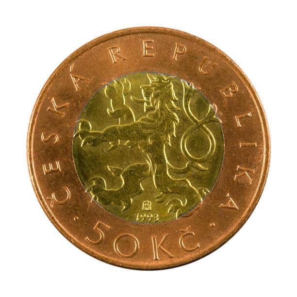 50 tschechische Kronenmünze (1993) umgekehrt isoliert auf weißem Hintergrund – Foto