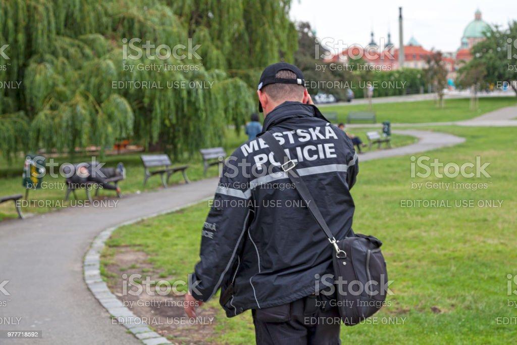 Czech municipal policeman stock photo