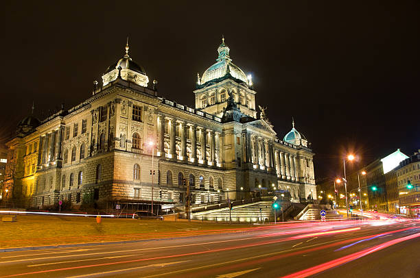 Czech national museum in the Night Night photo of National museum in Prague in the Czech republic - historical building in the middle of the city. wenceslas square stock pictures, royalty-free photos & images