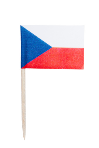Czech paper toothpick flag. Nice paper texture. Isolated on white.