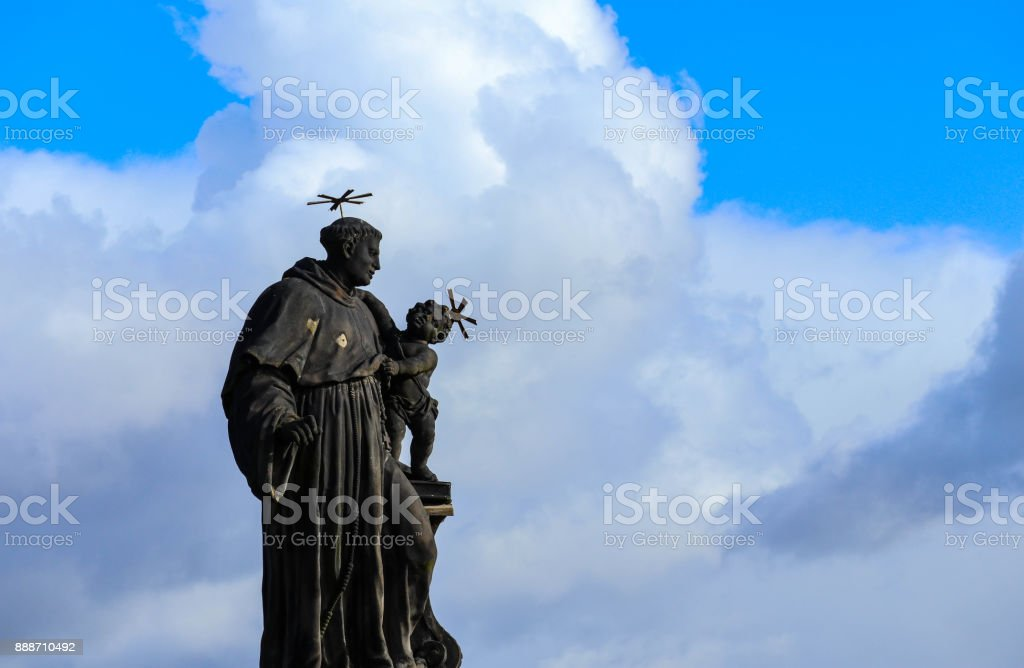 Czech, Prague, gothic sculpture of the Anthony of Padua on the Charles bridge.