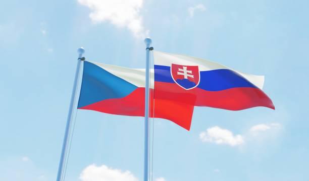 czech republic and slovakia, two flags waving against blue sky - slovacchia foto e immagini stock
