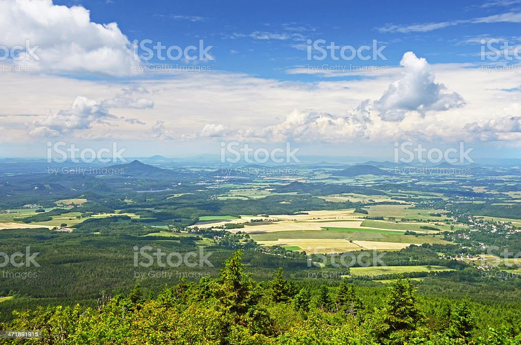 Czech Republic countryside, view from Jested mountain, Liberec stock photo