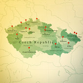 istock Czech Republic Map Square Cities Straight Pin Vintage 477670451