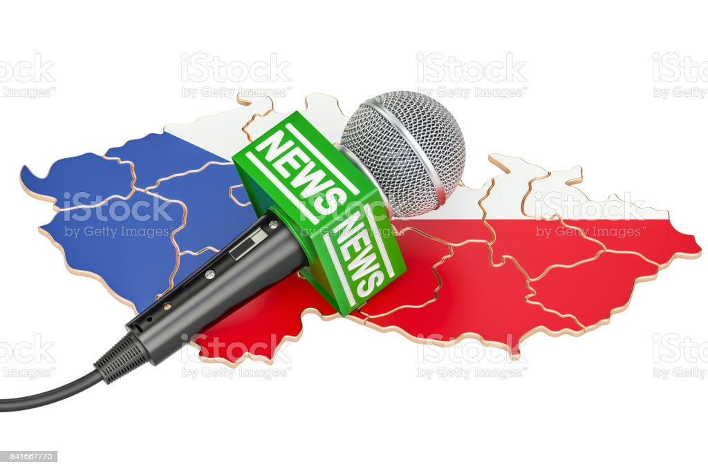 Czech Republic News concept, microphone news on the map of Hungary. 3D rendering stock photo