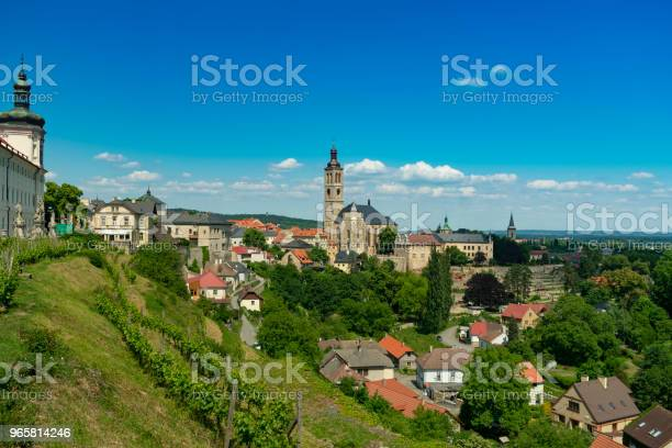Czech Republic Panorama Of The Kutna Hora Old Stone House With Cherry Trees Bashne And Vignettes Stock Photo - Download Image Now