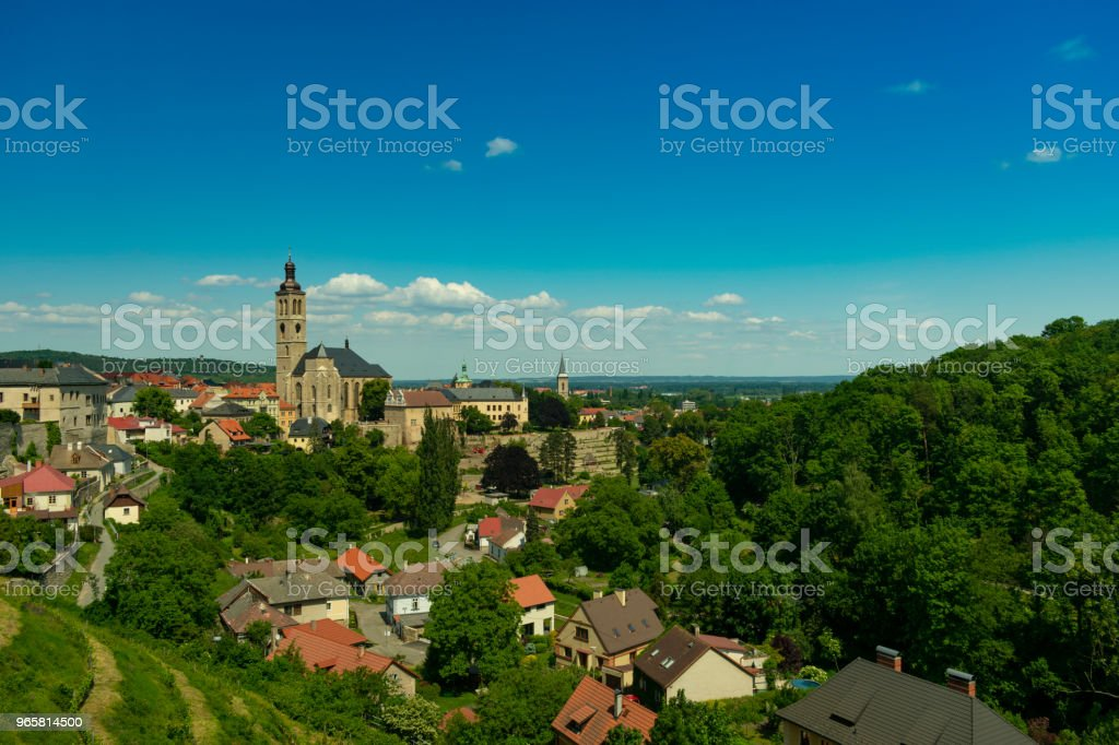 Czech Republic, panorama of the Kutna Hora, old stone house with cherry trees, bashne and vignettes - Royalty-free Architecture Stock Photo