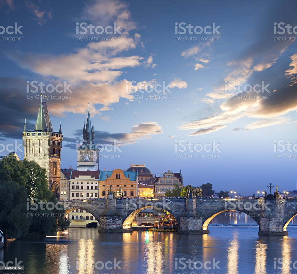 Czech republic prague charles bridge at dawn stock photo