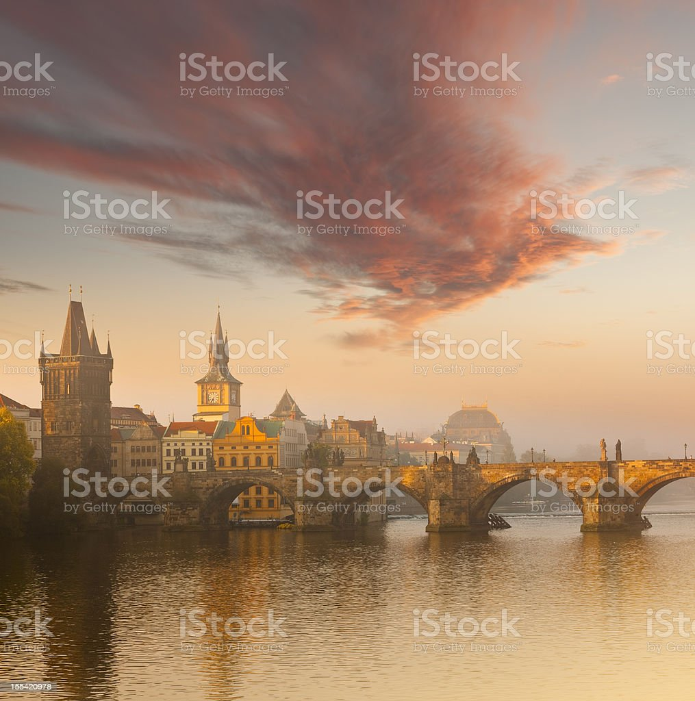 Czech republic prague, charles bridge at dawn stock photo