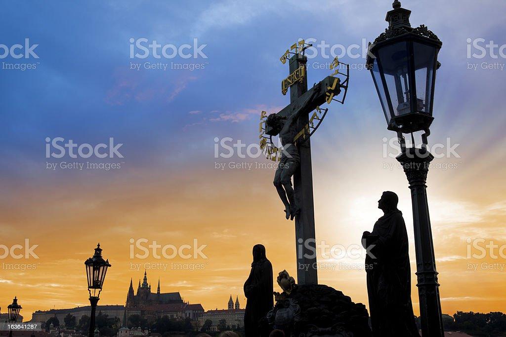 Czech republic prague, charles bridge at dawn royalty-free stock photo