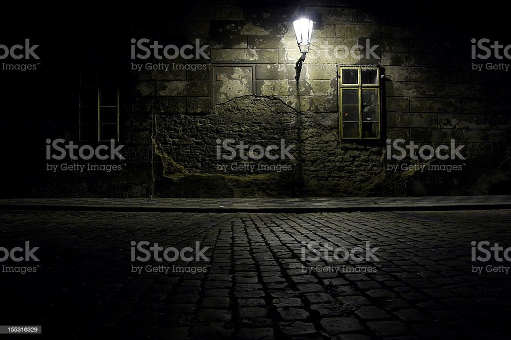 Czech Republic. Praha. Dark alley. stock photo