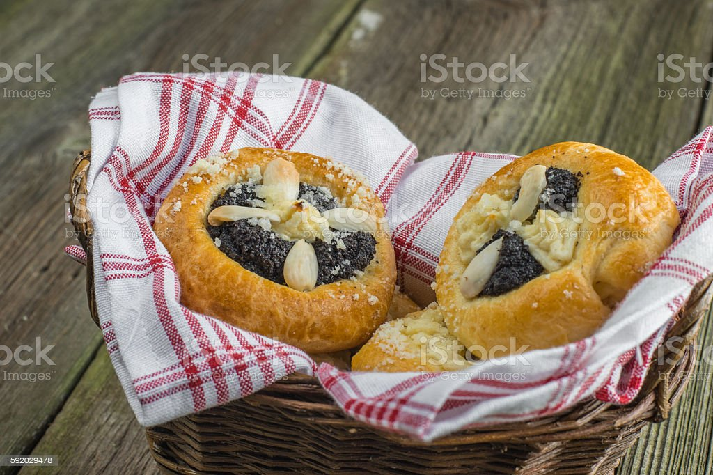 Czech Traditional Poppy Pie with Almond, Curd and Plum Jam stock photo