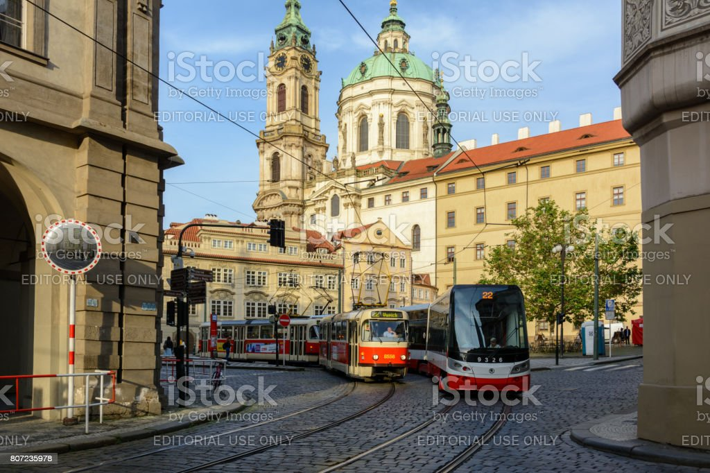 Czech trams on Malostranska Square in Prague, Czech Republic stock photo
