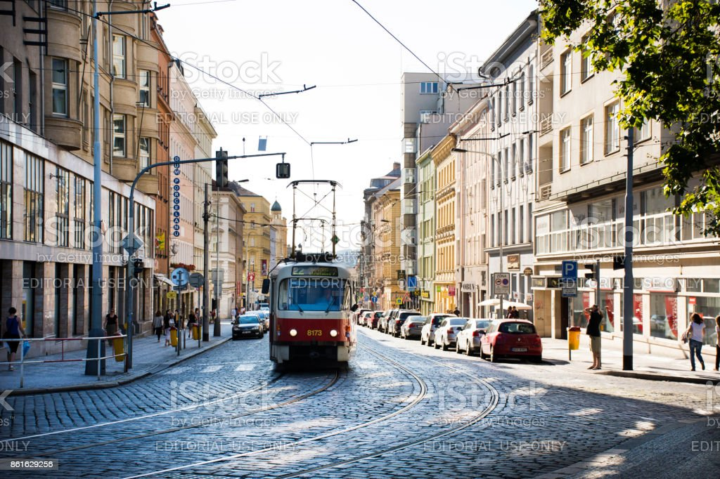Czechia and foreigner travelers use retro tramway for journey stock photo