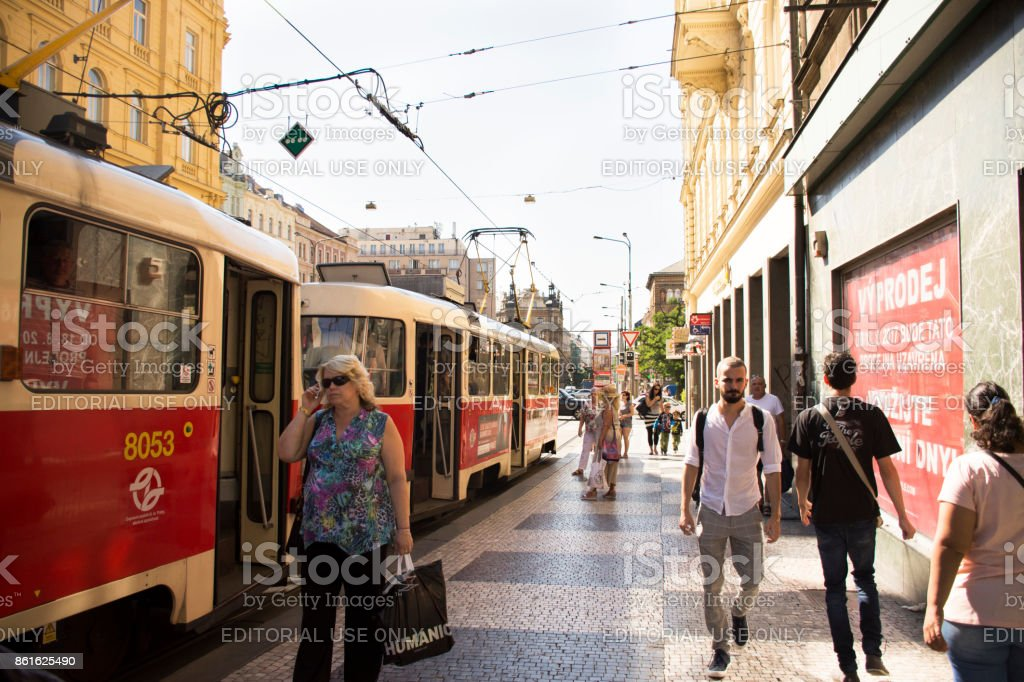 Czechia people and foreigner travelers use retro tramway at I.P. Pavlova station stock photo