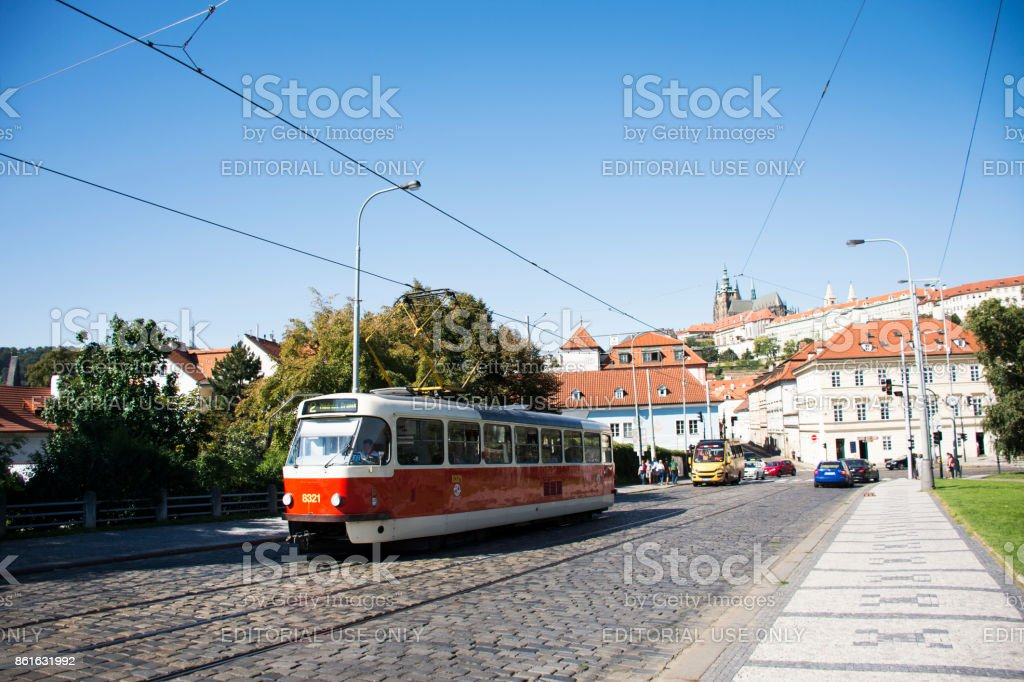 Czechia people and foreigner travelers use retro tramway in Prague, Czech Republic stock photo