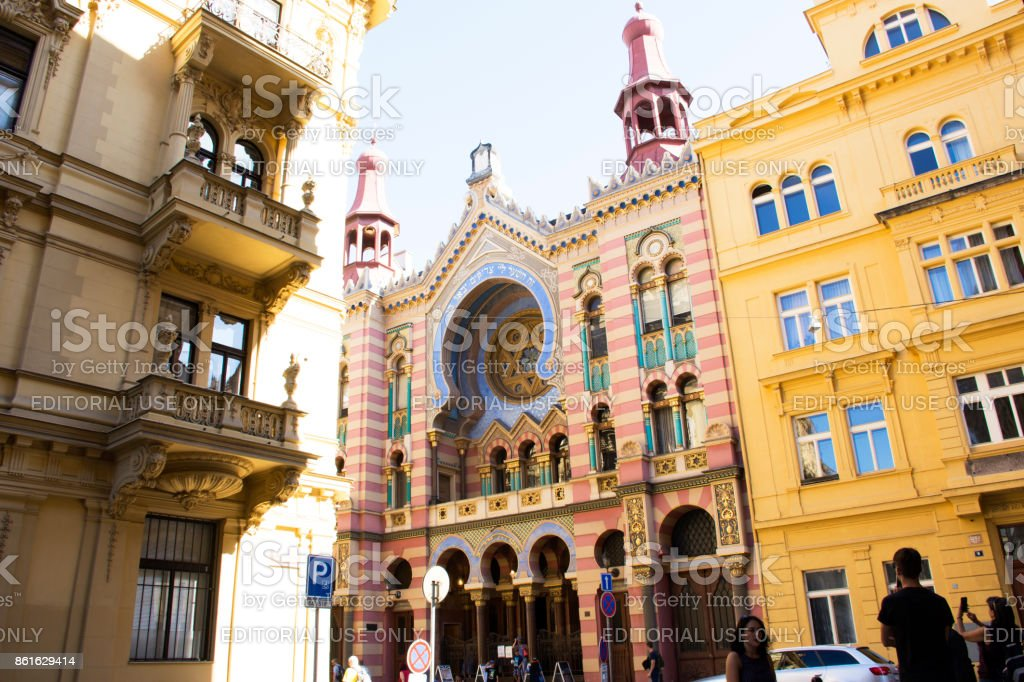 Czechia people and foreigner travelers visit Jubilee Synagogue or Jerusalem Synagoga stock photo