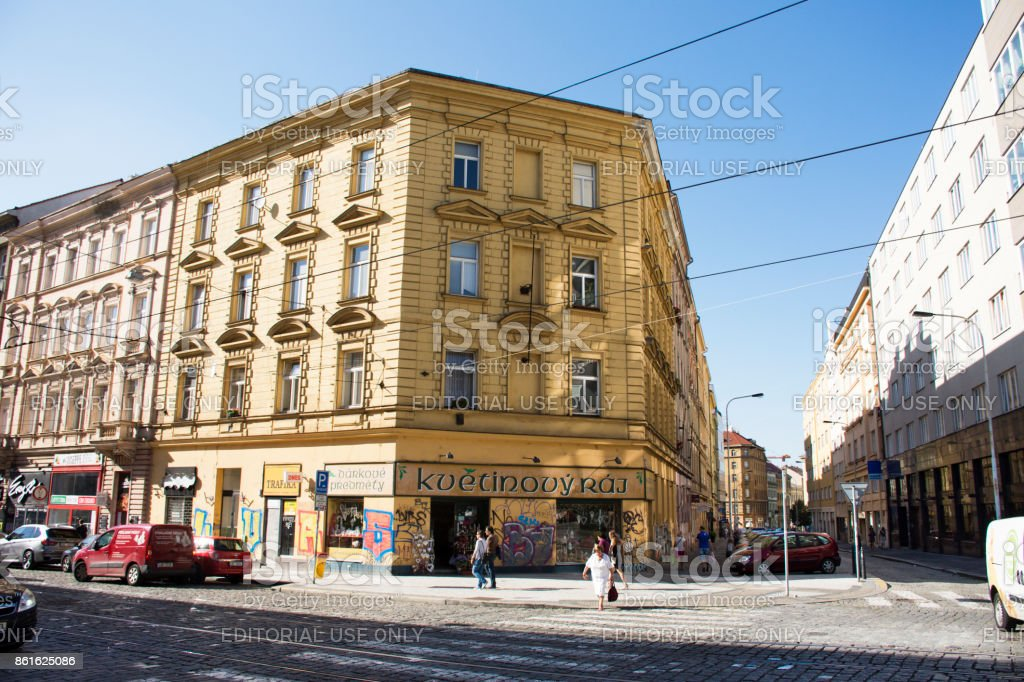 Czechia people walking on Jugoslavska road and tramcar with classic building stock photo