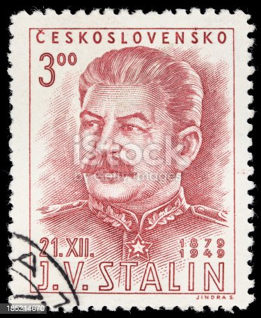A vintage Czech postage stamp with an illustration of ex-Soviet premiere Joseph Stalin.