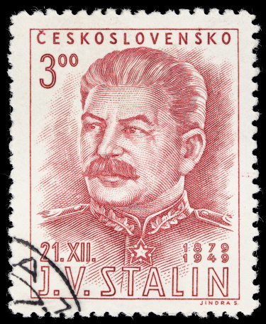 A vintage Czech postage stamp with an illustration of ex-Soviet premiere Joseph Stalin.