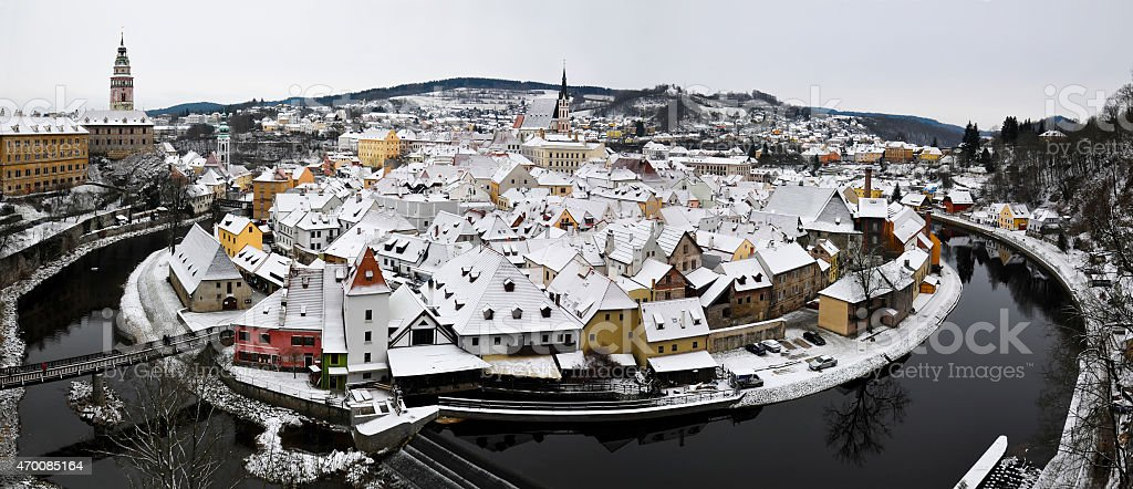 Czesky Krumlov in the snow stock photo
