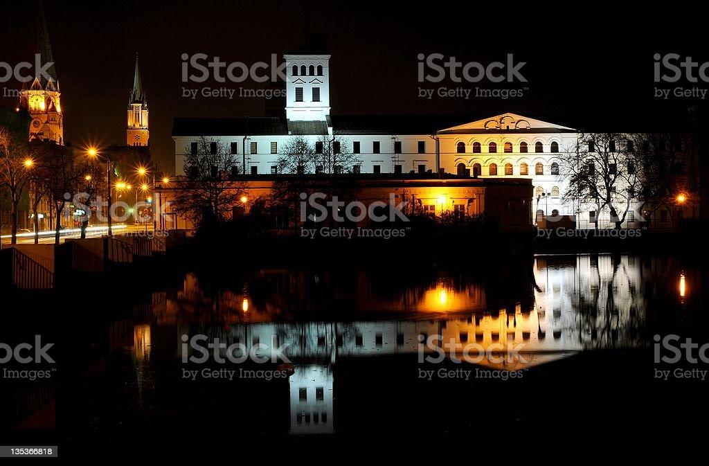Łódź city at night.