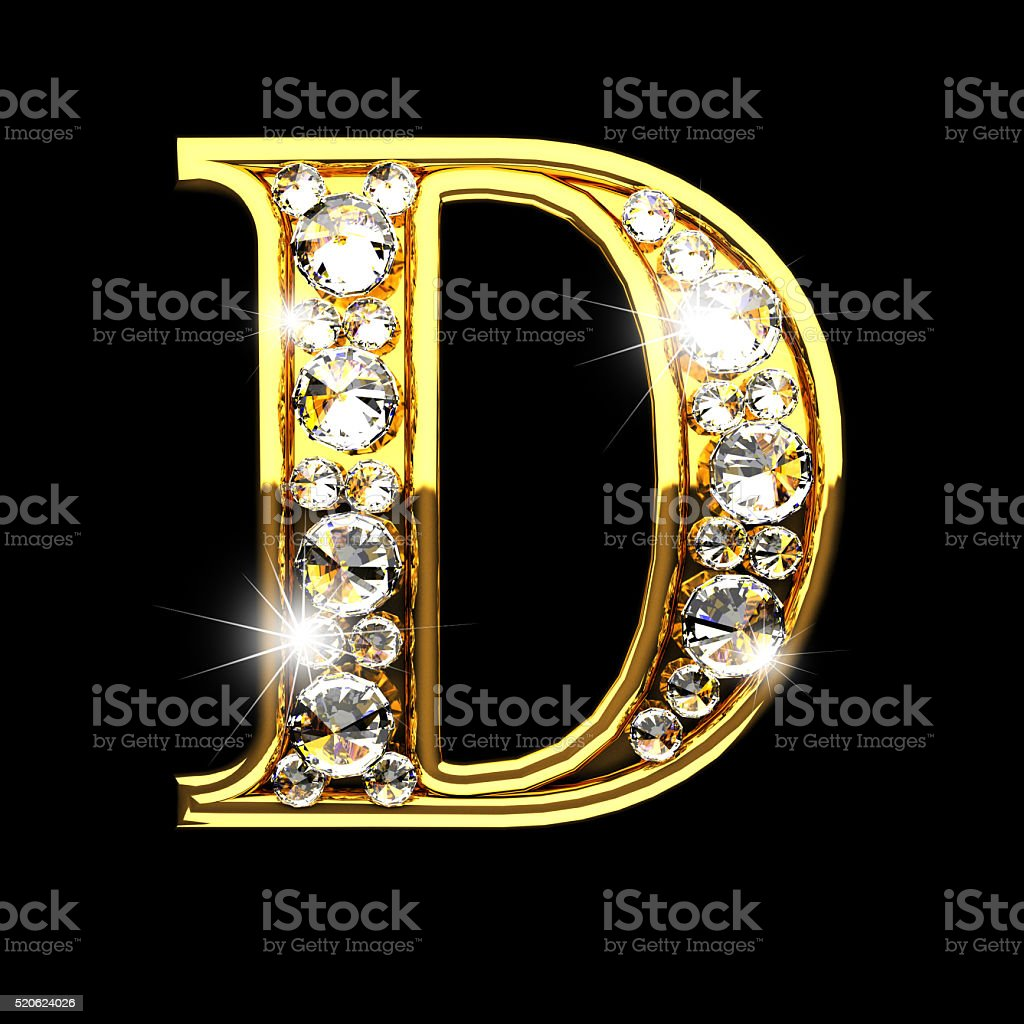 D Isolated Golden Letters With Diamonds On Black Stock