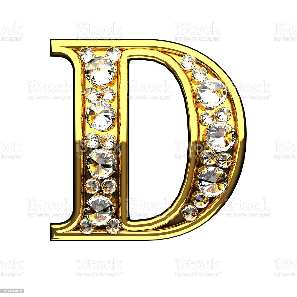d isolated golden letters with diamonds on white stock photo
