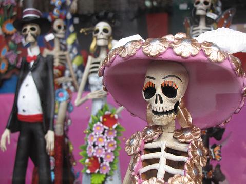 Día de los Muertos, Day of the Dead Figurines in a showcase, Mexico