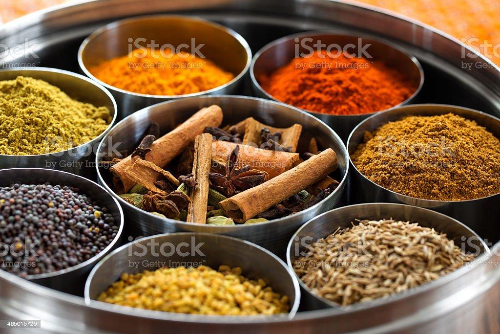 Dabba Masala (Indian Spice Box) stock photo