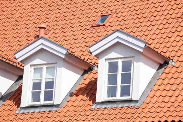 Dach, Dachfenster Dach, Dachfenster, Modernes Wohngebäude, Lüneburg, Deutschland, Europa lüneburg stock pictures, royalty-free photos & images