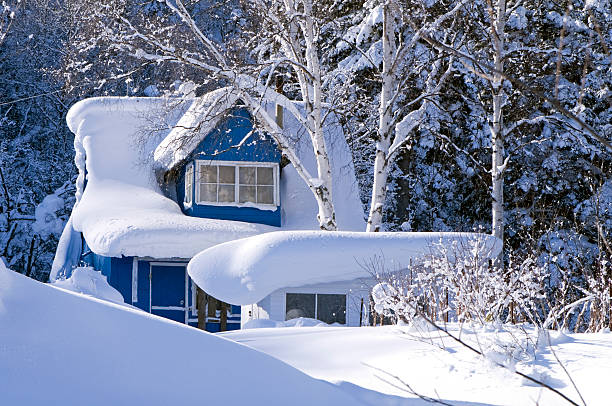 dacha in  snowdrift stock photo