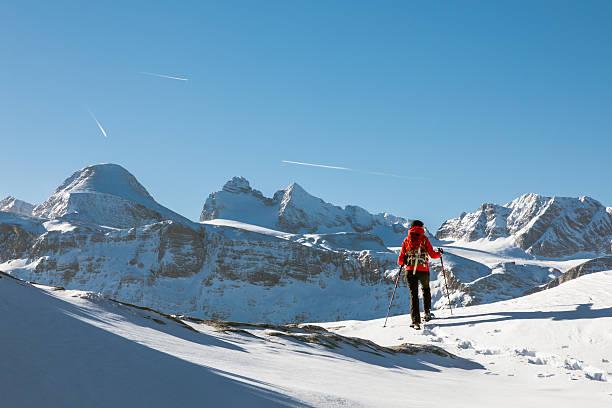 dachstein mountains panorama snowshoeing, austria - winter austria train bildbanksfoton och bilder