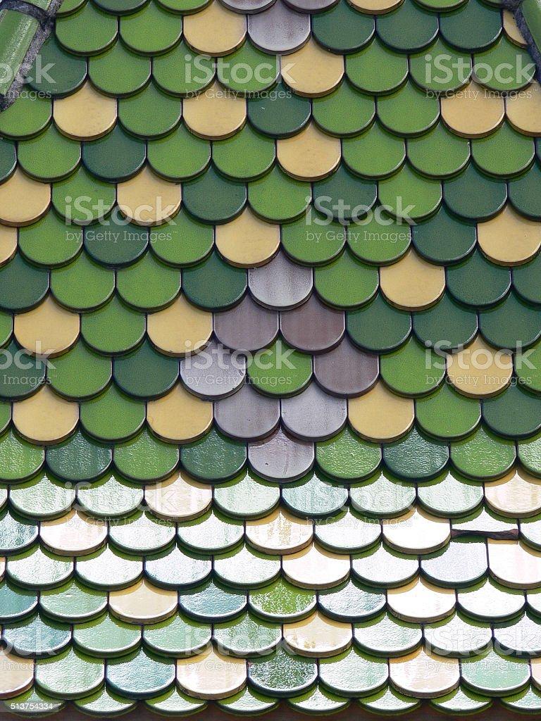 Dachziegel grün glanz 2 stock photo