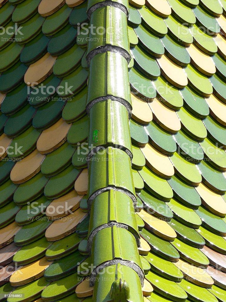 Dachziegel grün glanz 5 stock photo