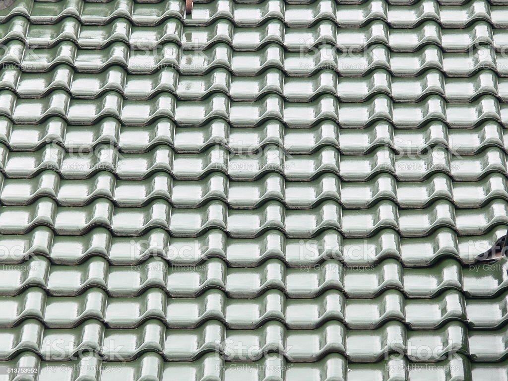 Dachziegel grün glanz stock photo