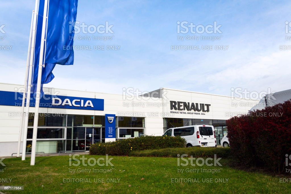 Dacia and Renault company logos on dealership building