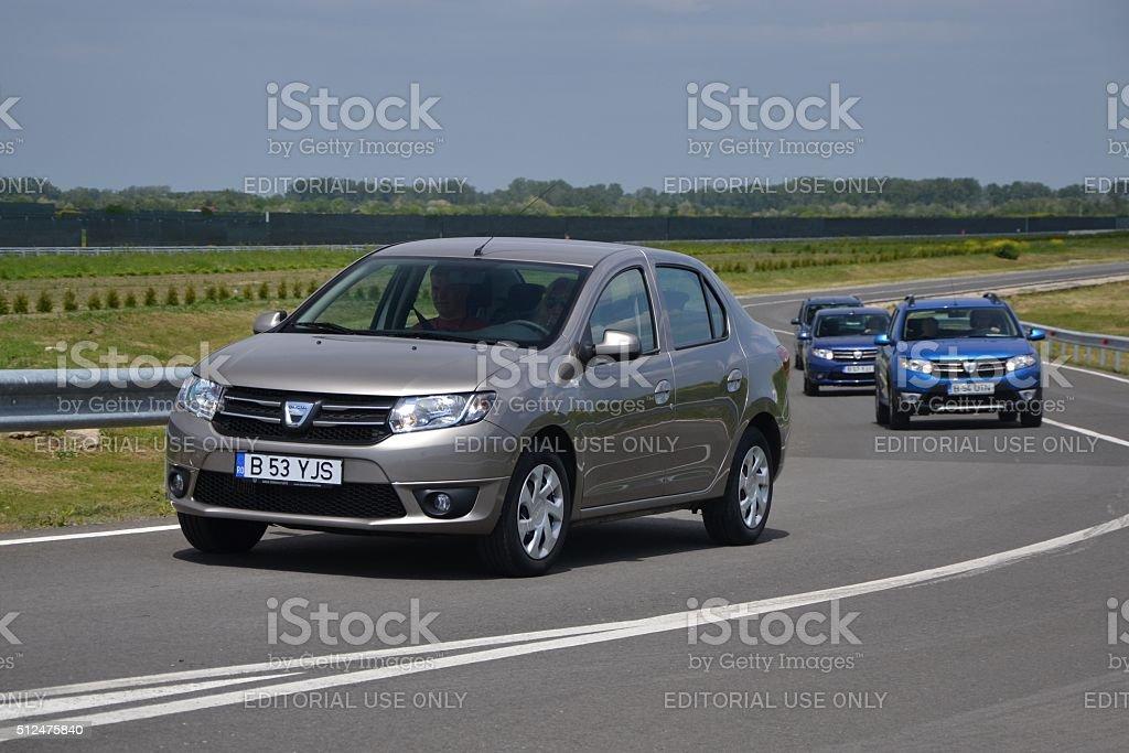 Dacia cars on the test track stock photo