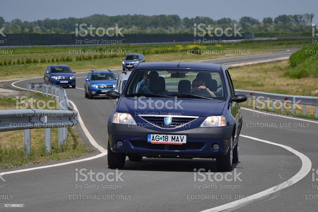 Dacia Logan in motion stock photo