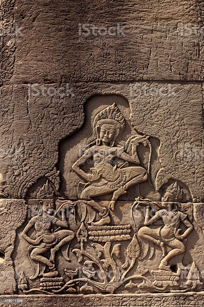 Dacing Apsaras in Bayon Temple stock photo