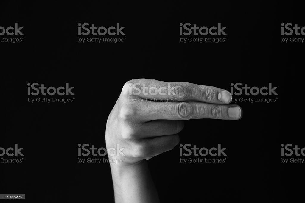 Dactil alphabet H stock photo